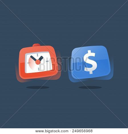 Time Is Money, Long Term Investment, Fast Micro Loan, Dollar Sign And Clock, Credit Payment Installm