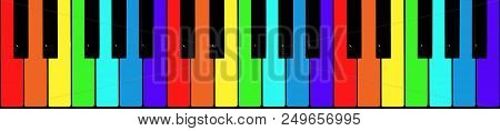 Painted In The Colors Of The Rainbow Piano Keys - Top View