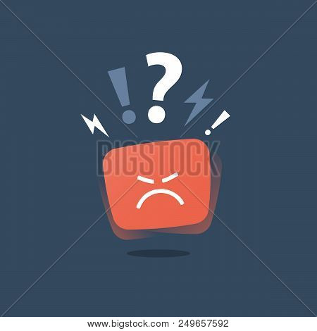 Negative thinking, bad experience feedback, unhappy client, difficult customer, poor service quality, angry red face, mad emoticon sticker, hate and furious, vector icon, flat illustration poster