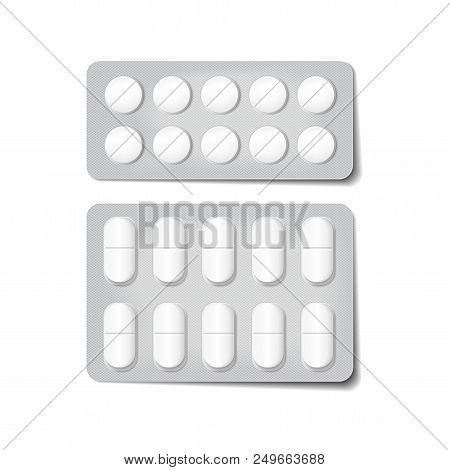 3d Packaging For Drugs. Painkillers, Antibiotics, Vitamins And Aspirin Tablets. Vector Set Of Bliste