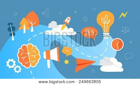 Idea Concept Illustration. Idea Of Creative Thinking And Brainstorming. Business Innovations. Light