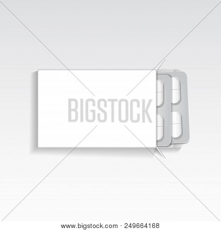 Vector Package With Oval Tablets Medicines Mock Up Template. Painkillers, Antibiotics, Vitamins, Asp