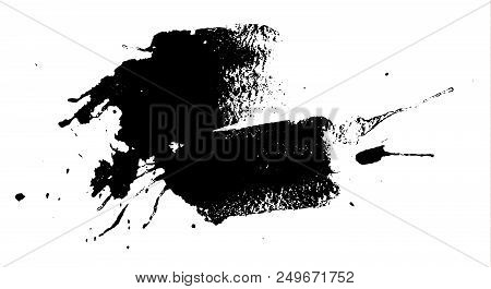 Black Ink Splash Or Drop Made With Brush. Ink Splatter. Isolated Vector Illustration