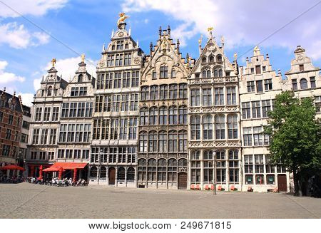 Medieval houses on Grand place in Antwerp, Belgium
