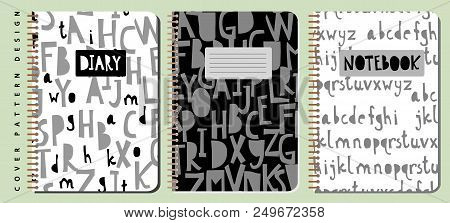Notebook And Diary Cover Design For Print With Seamless Pattern Included. For Copybooks Brochures An