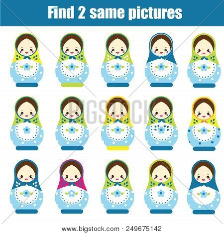 Find The Same Pictures Children Educational Game. Find Pairs Of Matreshka Dolls.