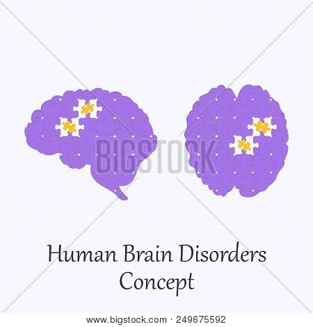 Human Brain Filled With Puzzle Pattern Few Of Whitch Unfit To The Whole. Conceptual Image Of Human B