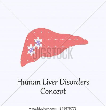 Human Liver Filled With Puzzle Pattern Few Of Whitch Unfit To The Whole. Conceptual Image Of Human L