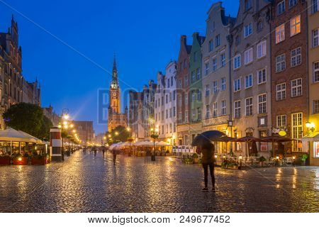 Architecture of the Long Lane in Gdansk at rainy night, Poland