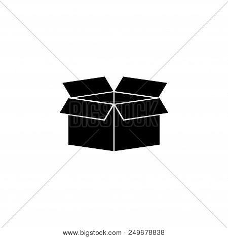 Open Box. Flat Vector Icon Illustration. Simple Black Symbol On White Background. Open Box Sign Desi