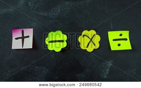 Sticky Colorful Notes, Isolated, With Math Symbols On Blackboard Background.