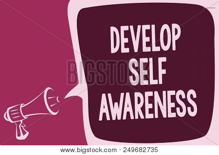 Word writing text Develop Self Awareness. Business concept for increase conscious knowledge of own character Reporting thinking alarming sound speaker warning capital ideas scripts poster
