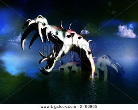 A scary image of what could be some Loch Ness Monsters. It would make a good Halloween image. poster