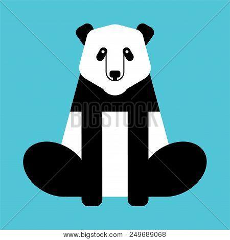 Panda China Bear Isolated. Wild Animal Vector Illustration.