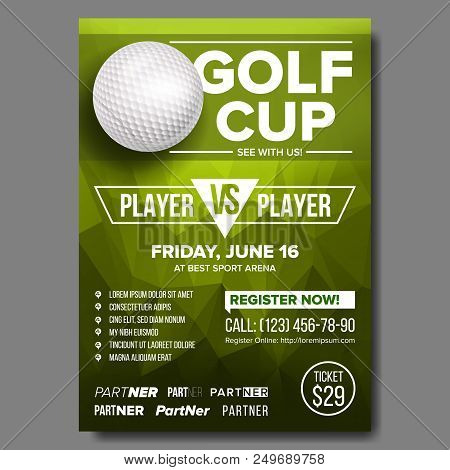 Golf Poster Vector. Design For Sport Bar Promotion. Golf Ball. Modern Tournament. Sport Event Announ