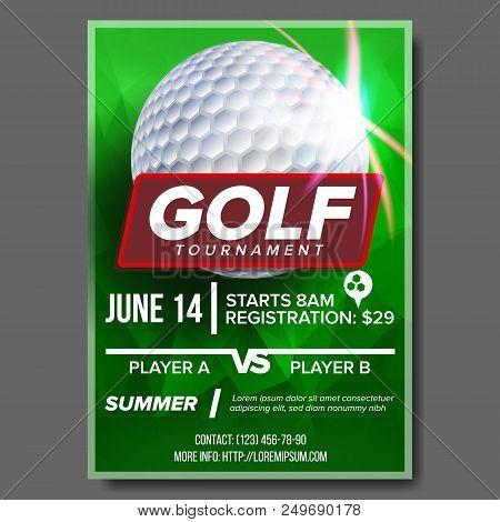 Golf Poster Vector. Golf Ball. Vertical Design For Sport Bar Promotion. Tournament, Championship Fly
