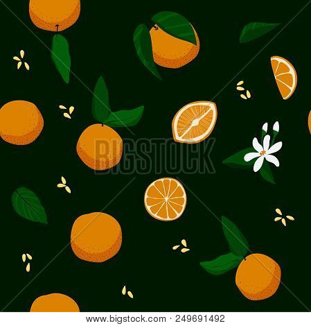 Seamless Floral Oranges, Leaves And Flowers Pattern. Stock Vector