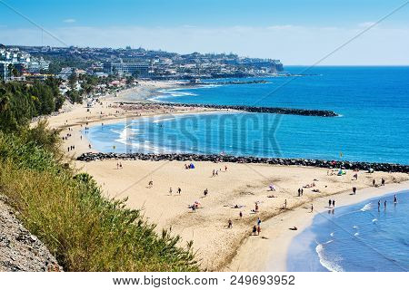 Playa Del Ingles, Gran Canaria, - March 25, 2018: Sandy Beach In Playa Del Ingles, Gran Canaria, Can