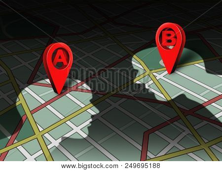 Point A To B Concept Location Roadmap And Gps Navigator Pin Human Business Connection Destination Ch