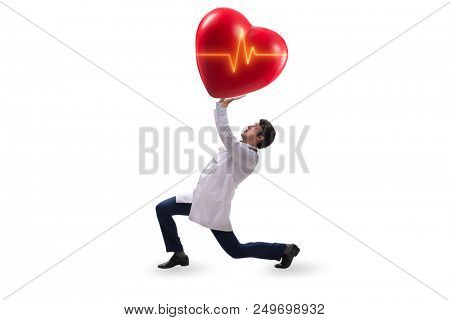 Doctor cardiologist supporting cardiogram heart line