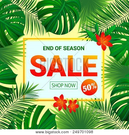 Seasonal Promotion Poster. Summer Sale Design. Tropic Background With Exotic Tropical Flowers, Leave