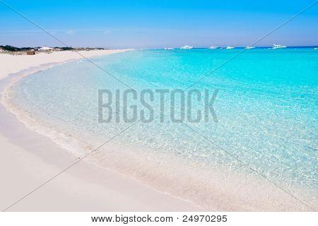 Illetes Formentera East tanga beach with tropical turquoise Mediterranean sea
