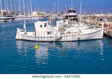 Formentera traditional llaut fisherboats in Balearic islands