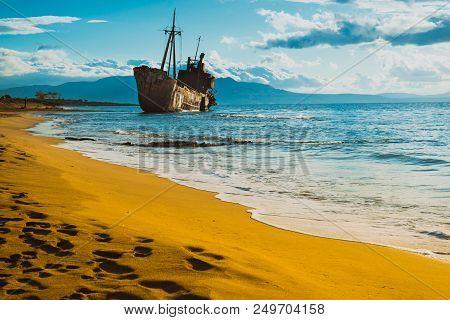 Greek Coastline With The Famous Rusty Shipwreck Dimitrios In Glyfada Beach Near Gytheio, Gythio Laco
