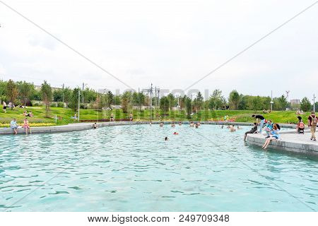 Moscow, Russia - 15 July 2018: Pond Of Park Tiufielieva Roshcha Zilart - A New City Park In The Sout