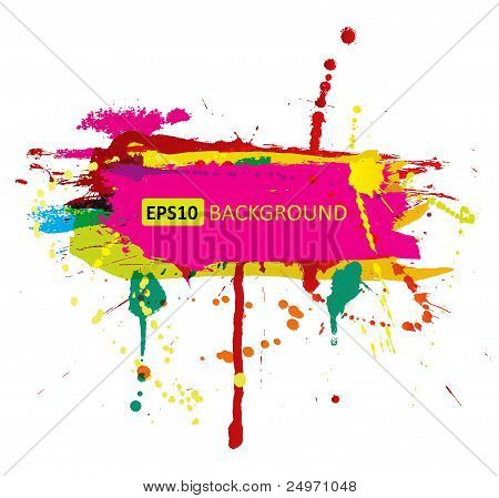 Colorful grunge banner with ink splashes