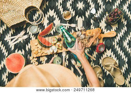 Summer Beach Picnic Setting. Flat-lay Of Charcuterie Board With Snacks, Watermelon, Cherries, Beach