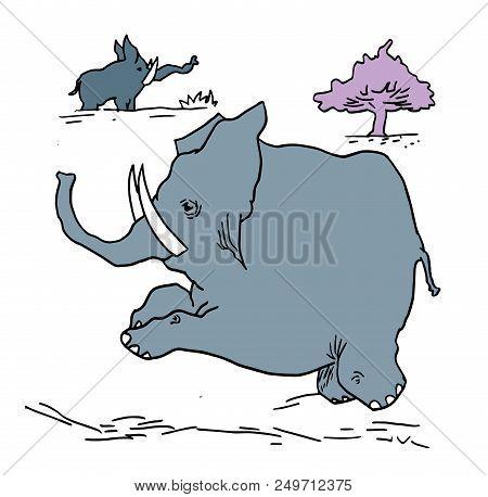Running Tiny Elephant.  Illustration Of Wildlife In The Africa. Tiny Elephant Running In The Nature