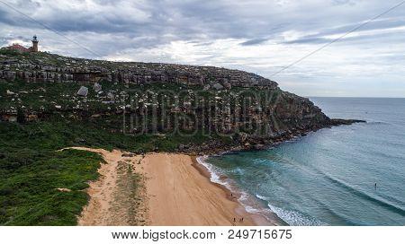 Aerial View Of Barrenjoey Lighthouse Atop Headland At Palm Beach, Sydney Australia