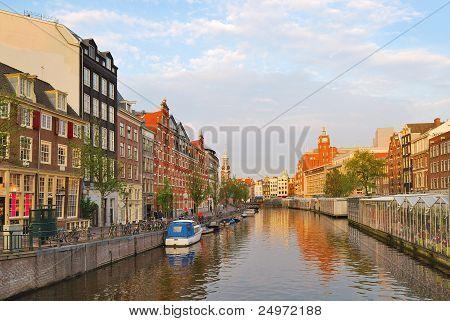 Amsterdam. Golden Sunset On Singel