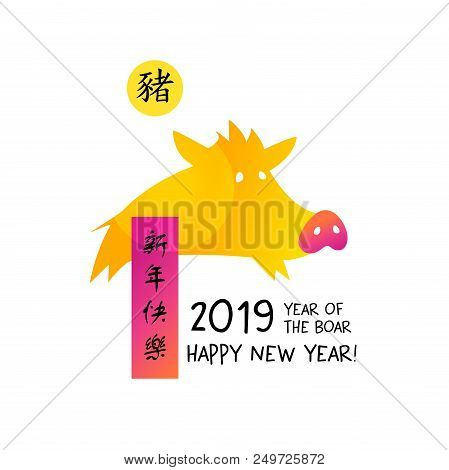 Set Image Silhouette Pig. Chinese Earth Boar Of Horoscope Sign. Text Chinese Language Translation Hi