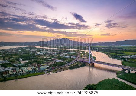 Aerial Scene Of Taipei City By The Keelung River