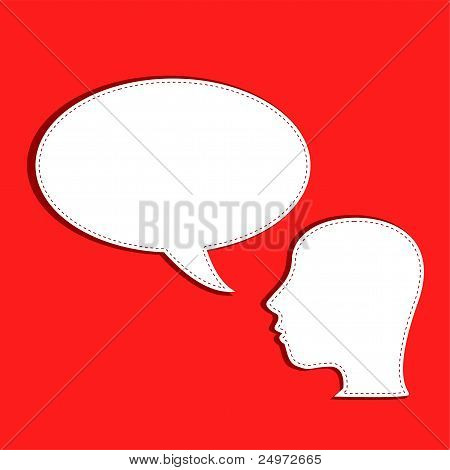 human talks in a speech bubble. vector