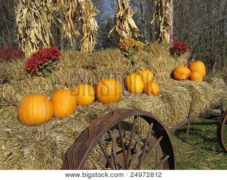 Autumn Hay Wagon with Rusty Wheels