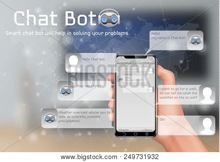 Online Chatbot Vector Concept Background. Human Hand Holding Smartphone, User Chatting In Messenger