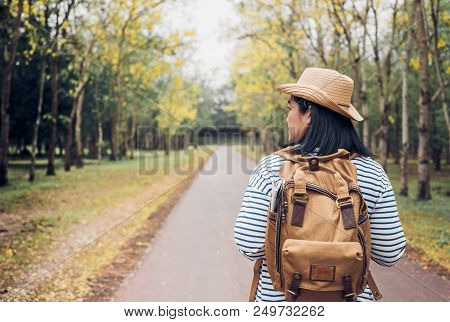 Back Of Young Traveler Woman Backpacker Looking Forward At Forest In Autumn Season,freedom Wanderlus