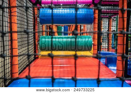 Kids Playground For Gym With Slide And Maze In Kindergarten. Modern Children Playground Indoor. Insi