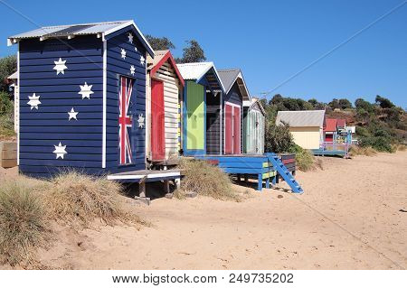Bathing Box Beach House In The Late Afternoon Sun, Mornington Australia 2018