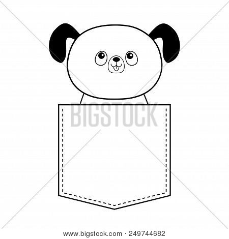 Dog in the pocket looking up. Doodle linear sketch. Cute cartoon animals. Puppy pooch character. Dash line. Pet animal. White and black color. T-shirt design. Baby background. Isolated. Flat Vector poster