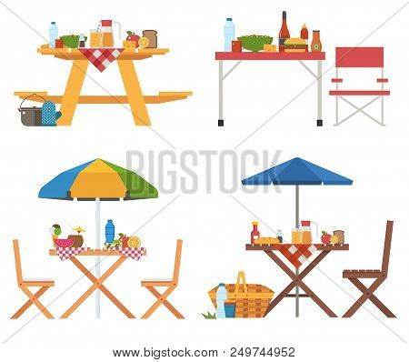 Picnic Table With Food Icons. Different Barbecue Tables And Chairs With Umbrella, Blanket, Fruits An