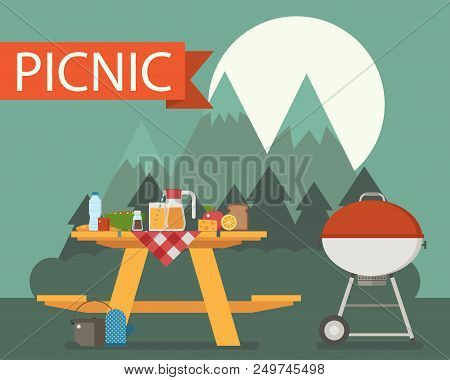 Summer Wooden Picnic Table On Mountain Night Background. Family Barbecue Concept With Picnic Party S
