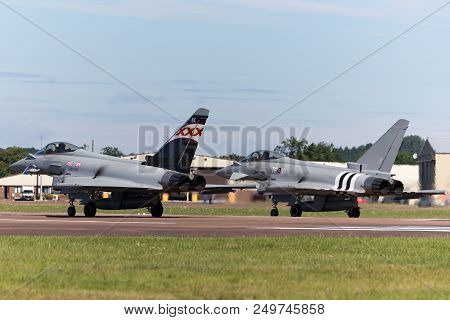 Raf Fairford, Gloucestershire, Uk - July 14, 2014: Royal Air Force (raf) Eurofighter Ef-2000 Typhoon