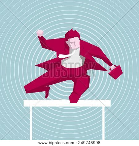 Businessman Hurdles Running, Business Concept Design, Background Is Blue.