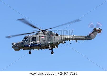 Raf Fairford, Gloucestershire, Uk - July 10, 2014: Royal Navy Fleet Air Arm Westland Wg-13 Lynx Has.