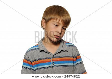 Young Boy Looking Sad