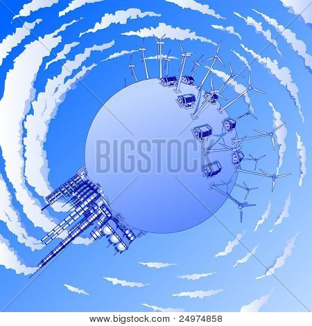 Industry concept: plant, windmills & houses. Bitmap copy my vector id 9762688